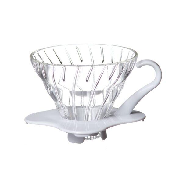 dripper szklany Hario V60 01, biały